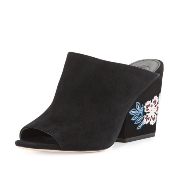 Tory Burch Shoes Embroidered Suede Wedge Mules Black Poshmark